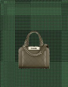 Chanel Khaki Label Click Small Shopping Bag