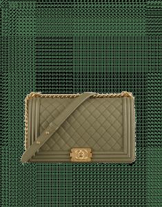 Chanel Khaki Large Boy Chanel Flap Bag