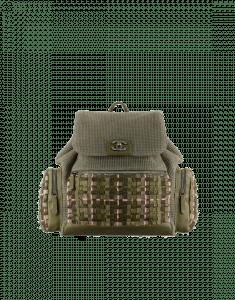 Chanel Khaki Tweed/Canvas Backpack Pocket Bag