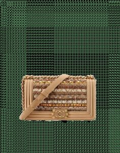 Chanel Khaki/Beige Iridescent Tweed/Wood Boy Chanel in Cuba Old Medium Flap Bag