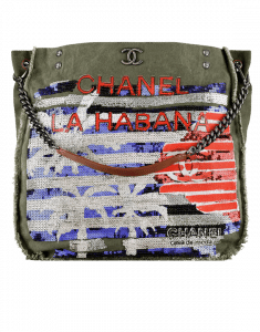 Chanel Khaki/Blue/Red Canvas and Sequins Cubano Trip Hobo Bag