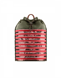 Chanel Khaki/Red Canvas and Sequins Cubano Trip Backpack Bag