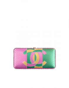 Chanel Pink/Green/Gold Python Evening Bag