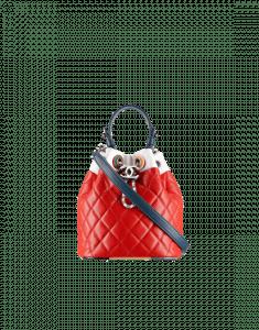 Chanel Red Multicolor Lambskin/Resin Small Drawstring Bag