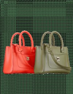 Chanel Red and Khaki Neo Executive Mini Shopping Bag
