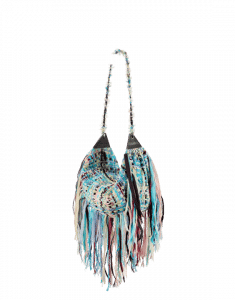 Chanel Turquoise/Pale Pink/Blue Tweed with Fringe Hammock Hobo Bag