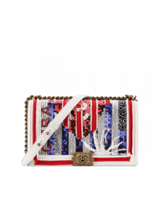 Chanel White/Blue/Red Canvas/Sequins Boy Chanel in Cuba New Medium Flap Bag