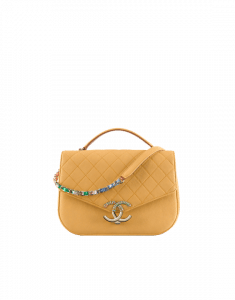 Chanel Yellow Medium Flap with Top Handle Bag