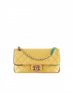 Chanel Yellow Multicolor Lambskin/Resin Small Flap Bag