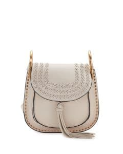 Chloe Abstract White Leather Hudson Small Bag