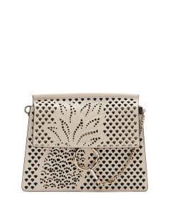 Chloe Abstract White Perforated-Pineapple Faye Medium Shoulder Bag