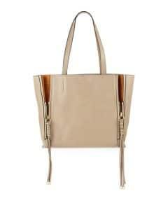 Chloe Beige/Caramel Leather and Suede Milo Medium Tote Bag