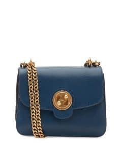 Chloe Blue Milie Medium Turn-Lock Chain Shoulder Bag