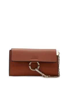 Chloe Caramel Leather Faye Wallet-On-A-Strap Bag