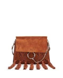 Chloe Caramel Leather and Suede Macrame Faye Medium Shoulder Bag