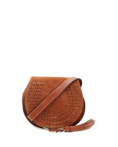 Chloe Caramel Suede Marcie Small Crossbody Bag