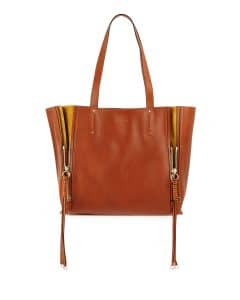 Chloe Caramel/Yellow Leather and Suede Milo Medium Tote Bag