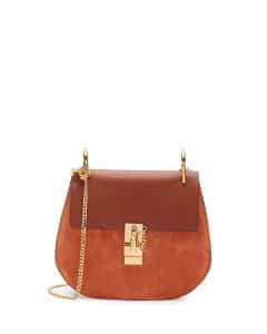 Chloe Classic Tobacco Suede and Calfskin Drew Small Bag