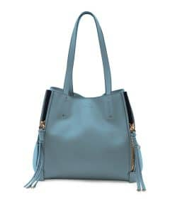 Chloe Cloudy Blue Leather and Suede Milo Medium Tote Bag