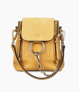 Chloe Dusty Yellow Mini Faye Backpack Bag