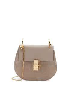 Chloe Motty Grey Suede and Calfskin Drew Small Bag