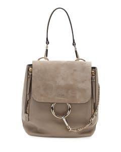 Chloe Motty Grey Suede and Leather Faye Medium Backpack Bag