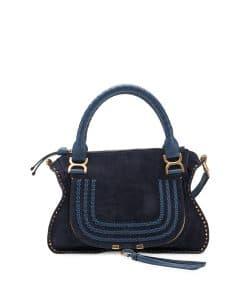 Chloe Navy Suede Marcie Medium Satchel Bag