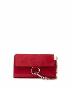 Chloe Red Leather Faye Wallet-On-A-Strap Bag