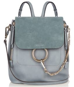 Chloe Slate Blue Medium Faye Backpack Bag