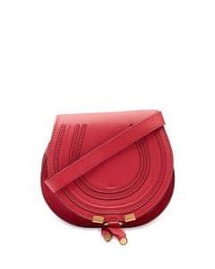 Chloe Tulip Red Calfskin Marcie Small Saddle Bag