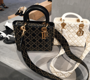Dior Black and White Studded Lady Dior Bags