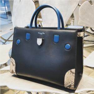 Dior Black/Blue Smooth Prestige Calfskin and Roccia Python Diorever Bag with Corners 2