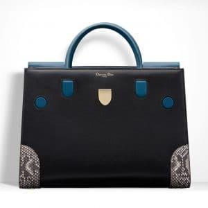 Dior Black/Blue Smooth Prestige Calfskin and Roccia Python Diorever Bag with Corners