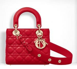Dior Bright Red Small Lady Dior Bag