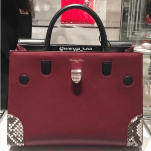 Dior Dark Red/Black Smooth Prestige Calfskin and Roccia Python Diorever Bag with Corners