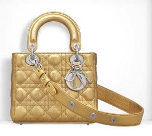 Dior Gold-Tone Small Lady Dior Bag