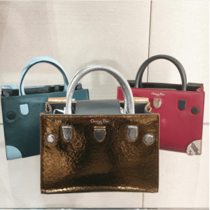 Dior Green/Ice Blue Pony-Effect Calfskin and Dark Red Calfskin/Python Mini Diorever Bags with Corners