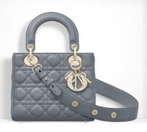 Dior Gris Small Lady Dior Bag
