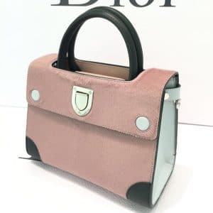 Dior Pink/Black Pony-Effect Calfskin Mini Diorever Bag with Corners