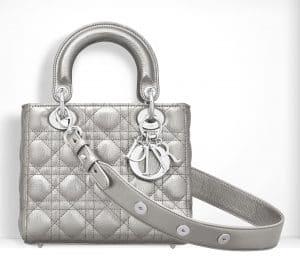 Dior Silver-Tone Small Lady Dior Bag