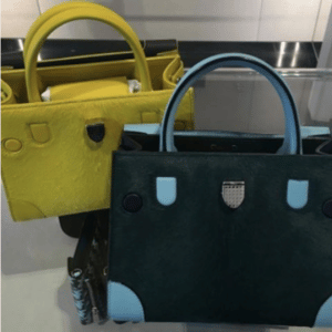 Dior Yellow and Green/Ice Blue Pony-Effect Calfskin Mini Diorever Bags with Corners