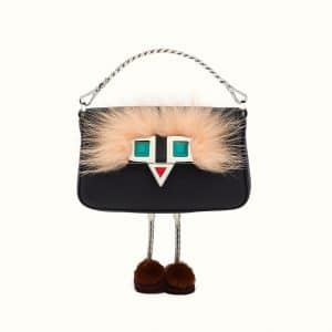 Fendi Black Leather with Fur Micro Baguette Bag