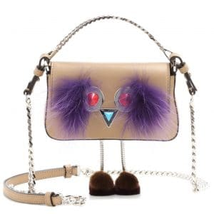 Fendi Cuoio Leather with Fur Micro Baguette Bag