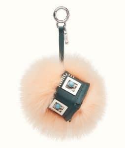 Fendi Pale Pink Leather and Fur Hypnoteyes Bag Bug Charm