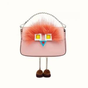 Fendi Pink Leather with Fur Micro Baguette Bag