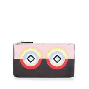 Fendi Pink/Black Flat Zip Pouch Bag