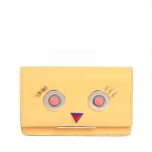 Fendi Yellow Hypnoteyes Small Leather with Chain Strap Bag