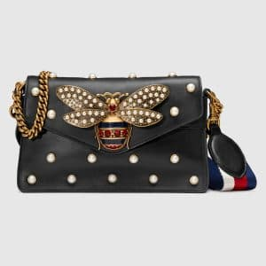 Gucci Black Bee Detail and Pearl Studded Broadway Leather Clutch Bag