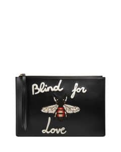 Gucci Black Blind for Love Leather Pouch Bag