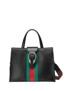 Gucci Black Dionysus Medium Web-Stripe Top-Handle Bag